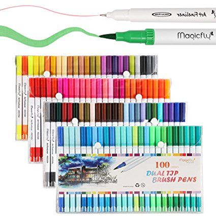 Markers Perfect for Adult Coloring Books Calligraphy Manga GC 100 Dual Tip Brush Pen Marker Set Flexible Brush /& Fineliner Tips Hand Lettering Bullet Journal Pens Watercolor Effects
