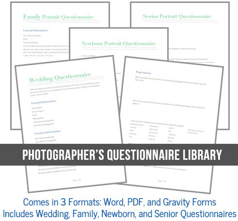 Includes Wedding Newborn Family And Senior Portrait Questionnaires In Word Pdf Gravity Form Versions 49