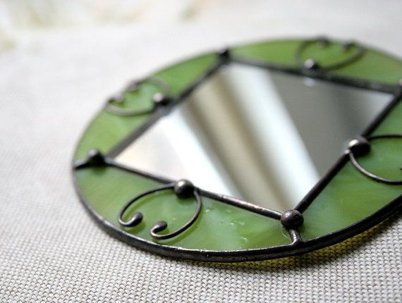 Items similar to Pocket little mirror green stained glass Women's Accessories on Etsy