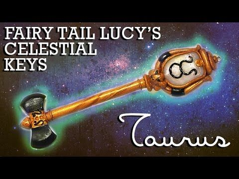 Fairy Tail Lucy's Celestial Key Polymer Clay Tutorial (Taurus) - YouTube