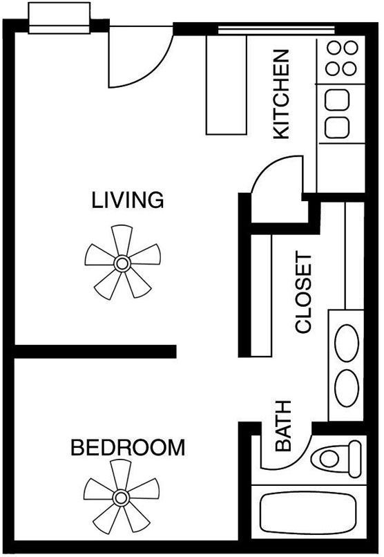 Studio apartment floor plans google search garage for Efficiency apartment floor plans