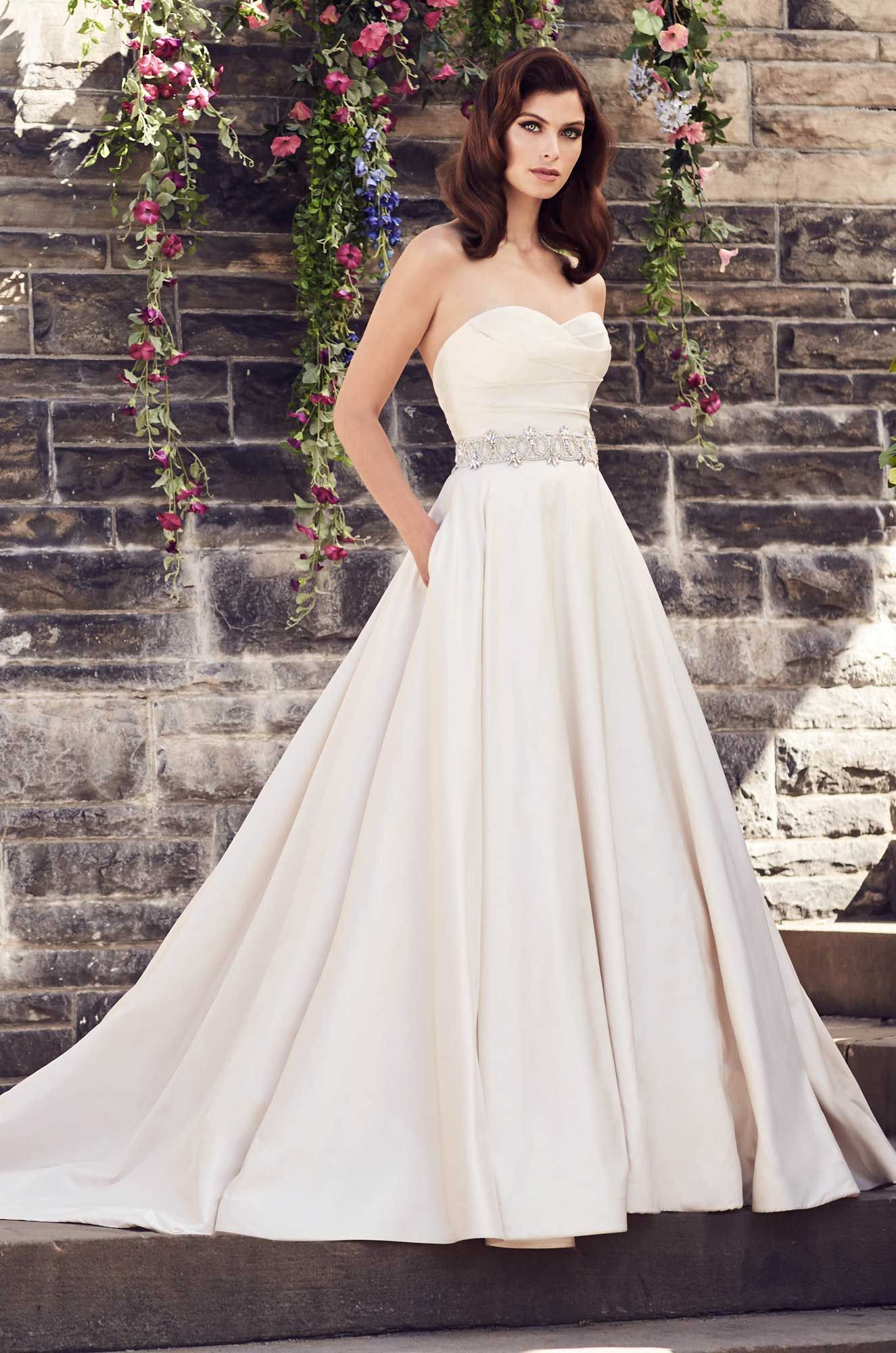 Paloma Blanca Wedding Dress Style 4733 Silk Dupioni Strapless Pleated Sweetheart Bodice In Removable Beaded Belt At Waist