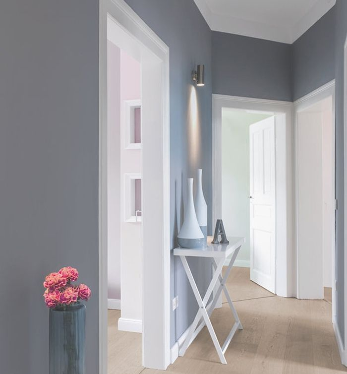 Flur Grauer Weißpinsel Faszinierende graue Wandfarbe Flur