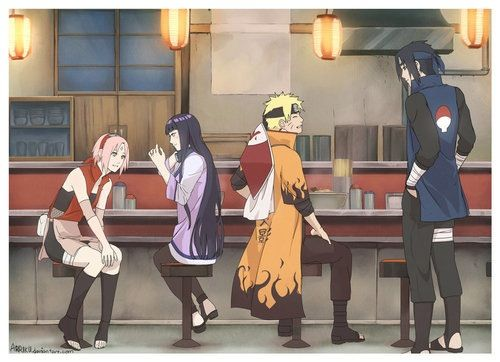 Sakura Hinata Naruto Sasuke. Who will marry who? I hope NaruSaku will happen cos it means there is a 1% chance of SasuHina :)