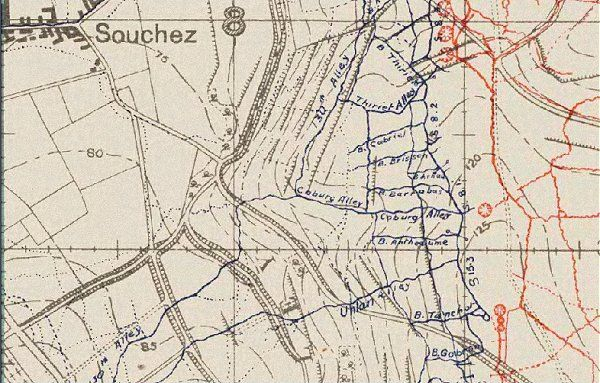 trench map - an extract from a map of the Vimy Ridge area in ...