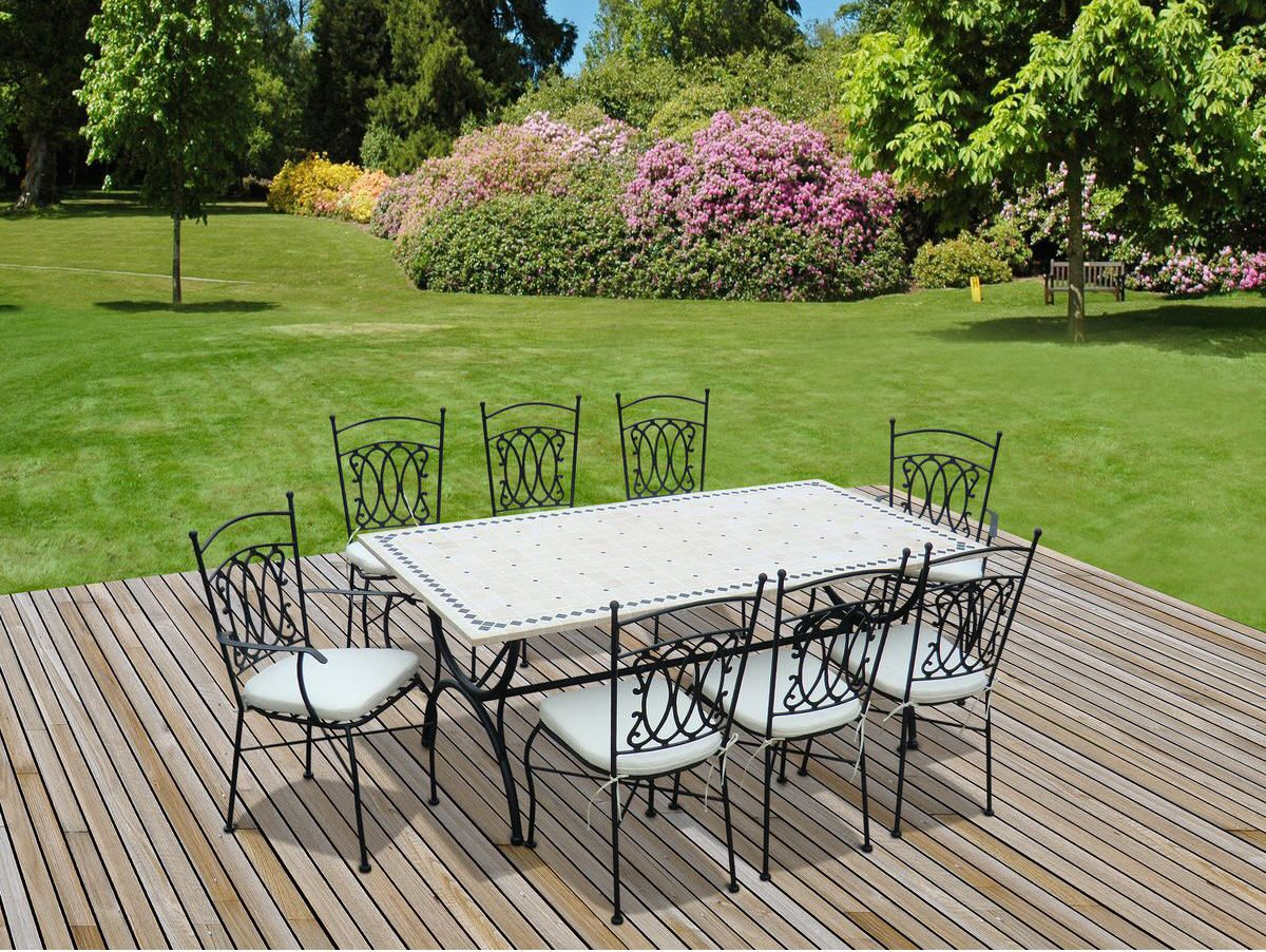 Salon de jardin alice s garden table 200cm 8 places pinterest promo la redoute zellige et - Table de jardin ceramique et fer forge ...