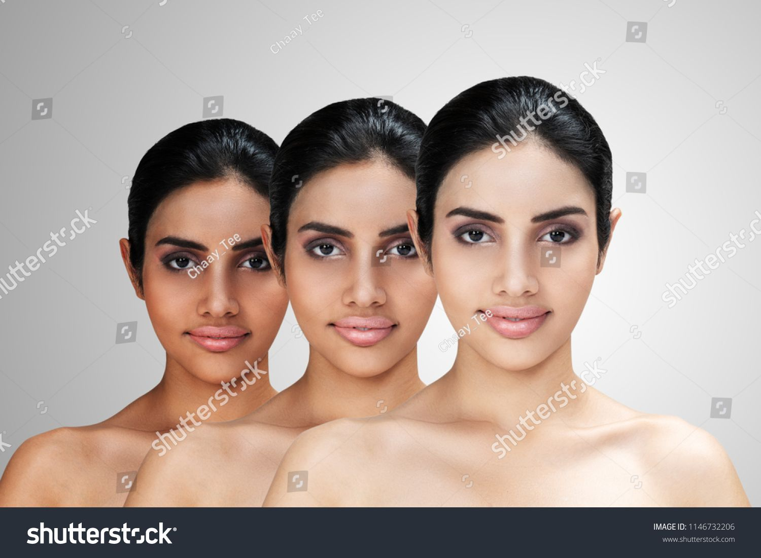 Young Asian attractive woman with skin brightening or facial rejuvenation  concept. Face whitening after treatment compare before - after and  lightening ...