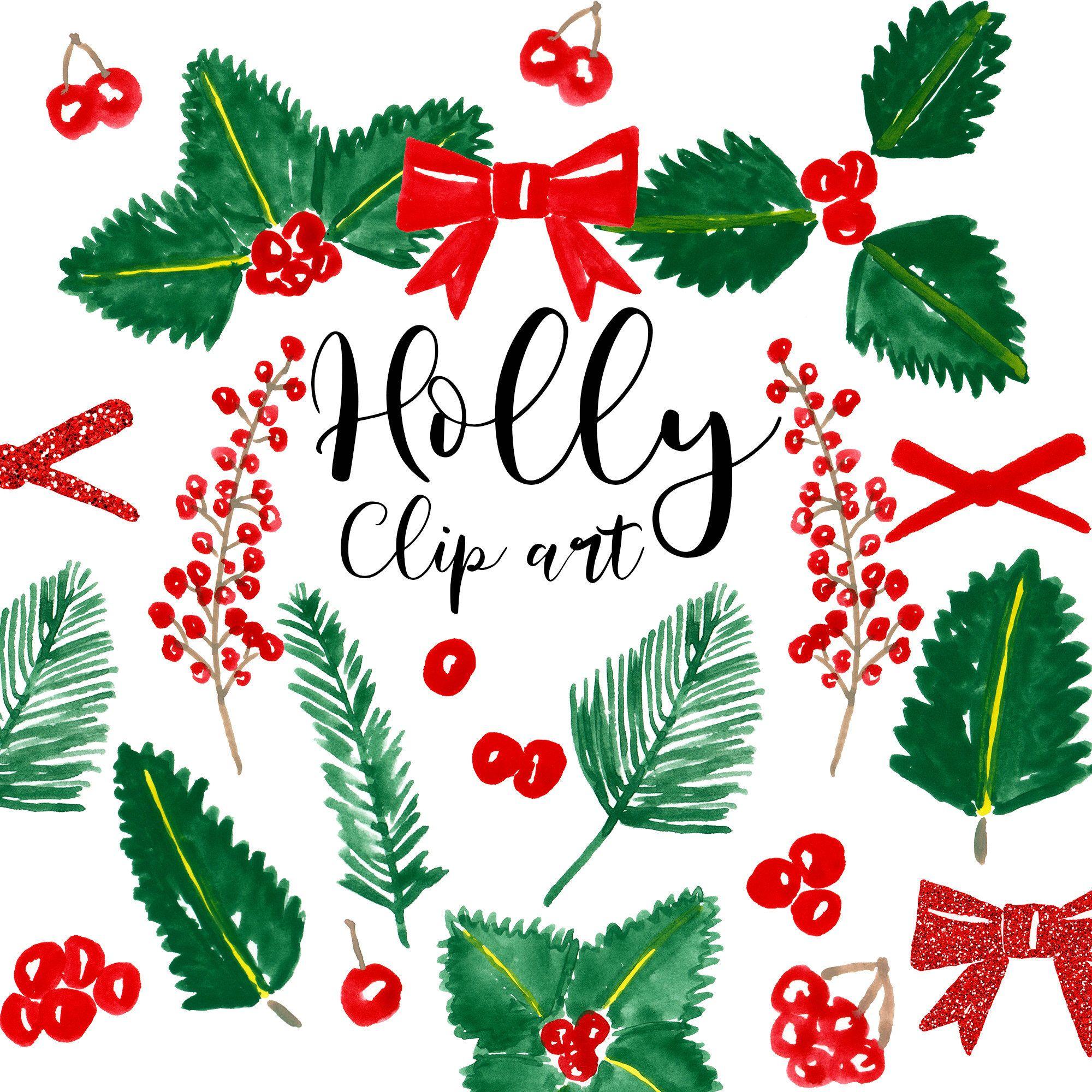 Agrifoglio Immagini Natalizie.Clip Art Di Natale Agrifoglio Natale Acquerello Bacche Etsy Planner Stickers Decorazioni Di Natale Natale