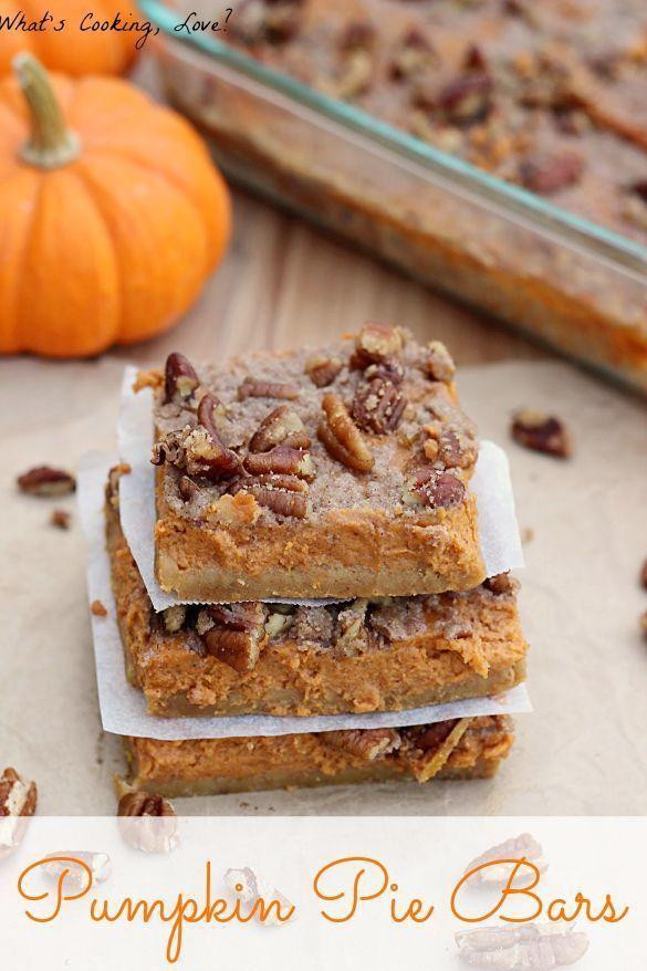 Pumpkin Pie Bars.  Pumpkin Pie with a pecan streusel topping in bar form.  A great fall dessert! #pumpkin #pumpkinpie #bar #dessert