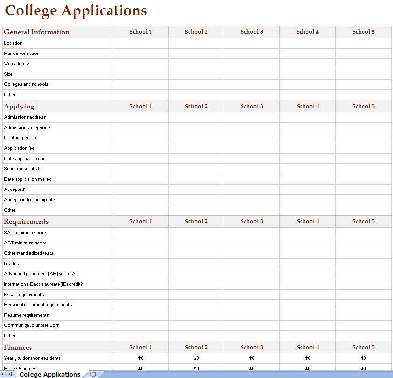 college search tracker worksheet college Pinterest College