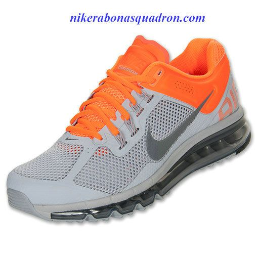 Nike Air Max 2013 Mens Wolf Grey Metallic Grey Orange 554886 009 ... 67c278c40eb