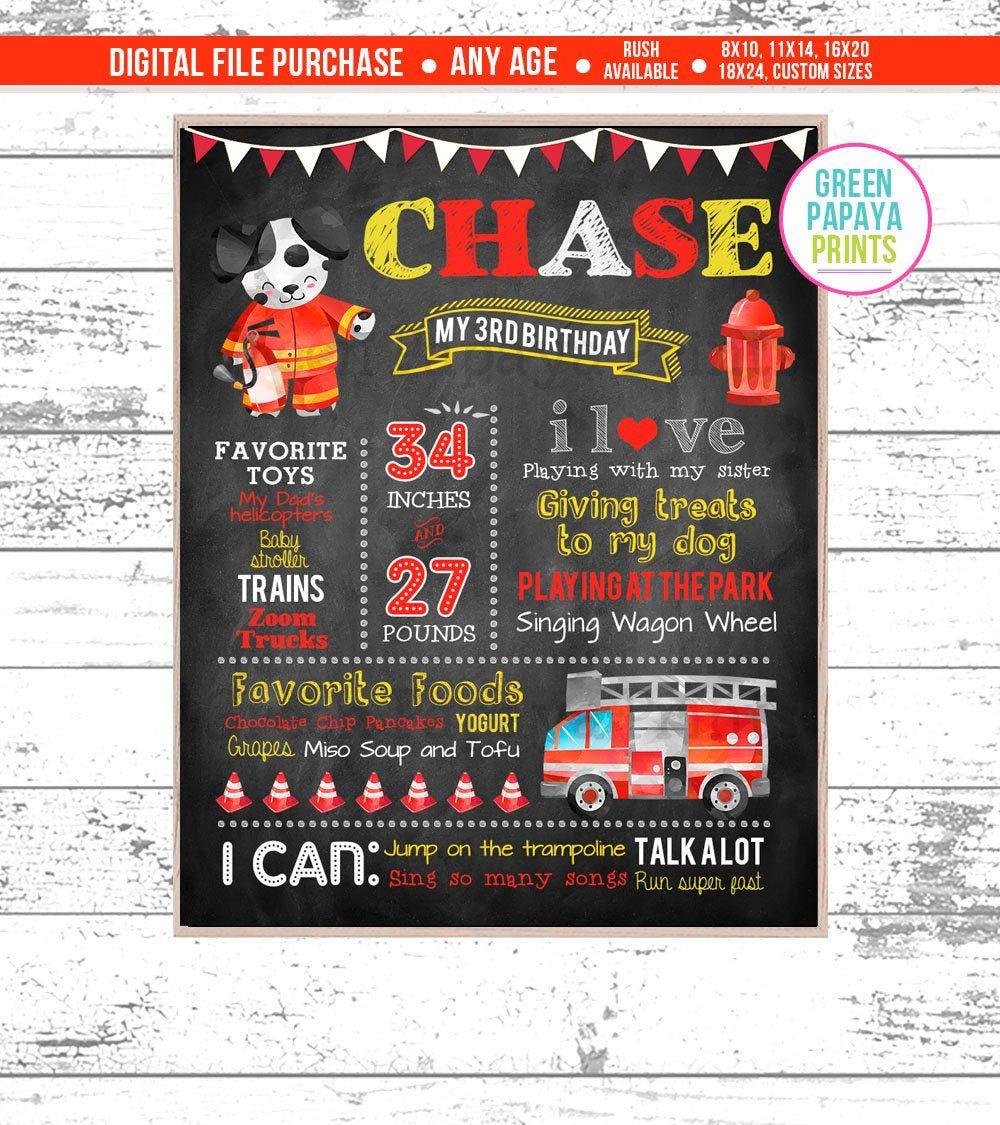 Dalmatian Firetruck 1st Fireman Birthday Chalkboard Sign 4th Birthday Milestone Chalkboard Printable File 2nd 3rd