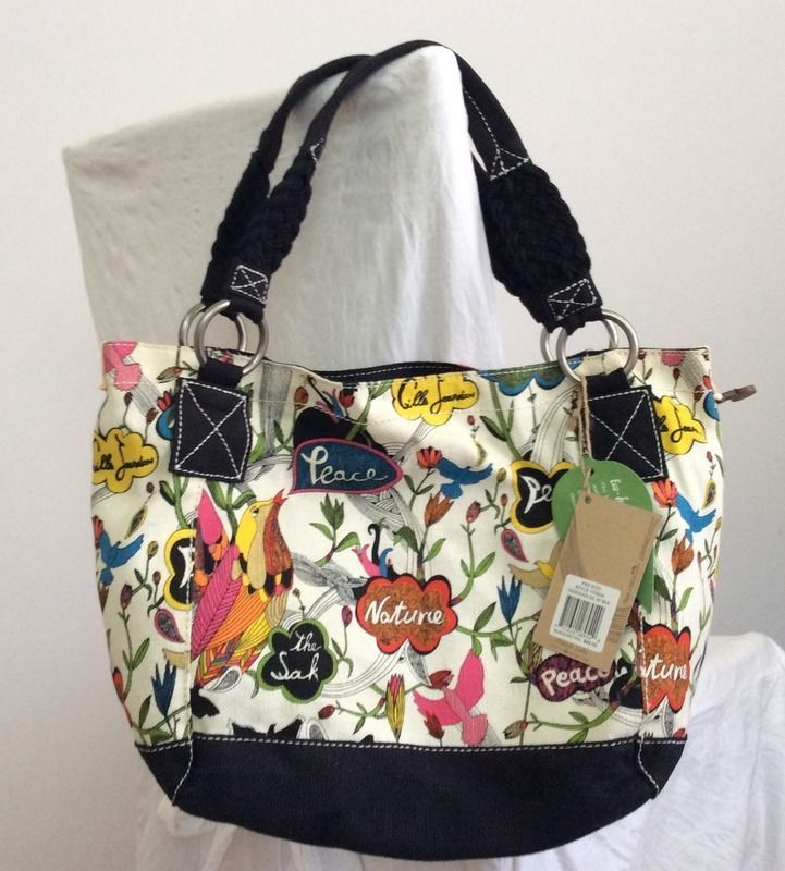 SAKROOTS Peace Love Nature Purse Tote Shopper Bag ECO FRIENDLY NWT GREAT  GIFT