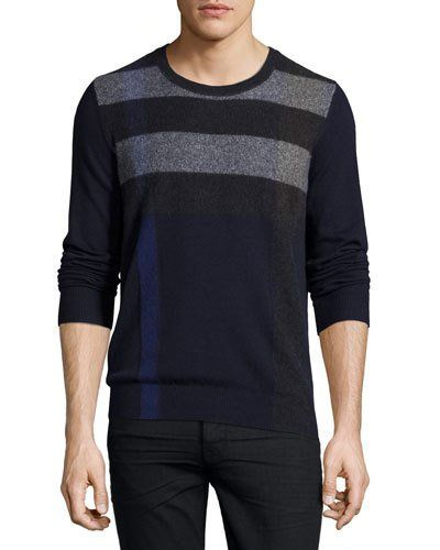 BURBERRY Feldon Graphic Check Cashmere-Cotton Sweater, Navy ...