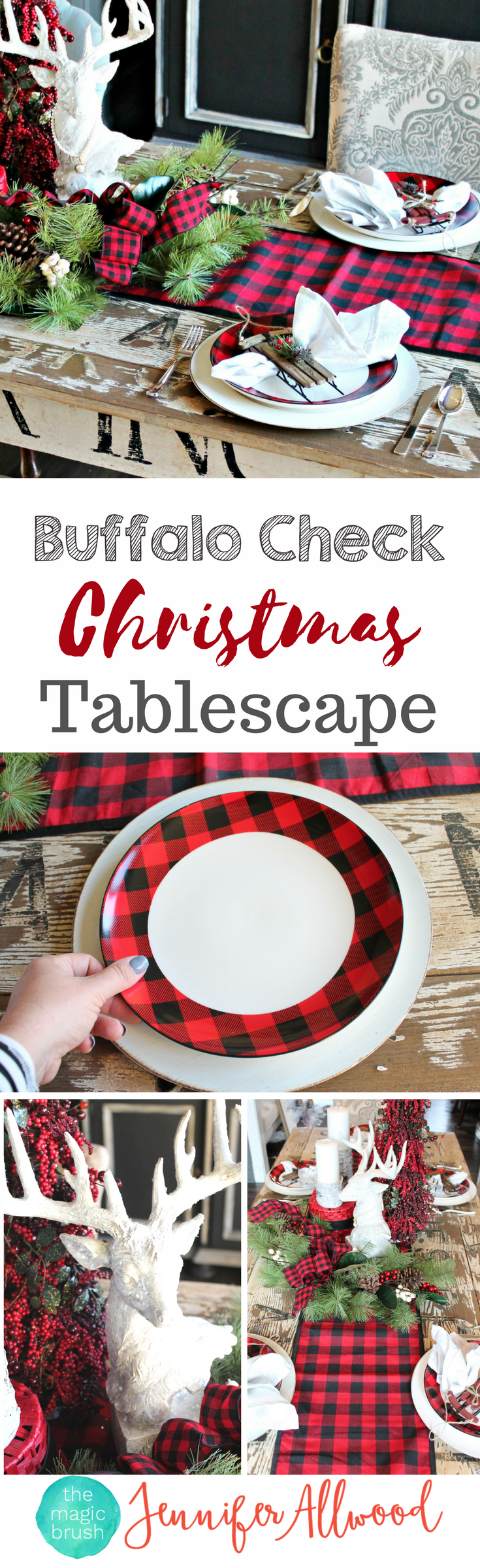 Info's : Buffalo Check Christmas Decorating by theMagicBrushinc.com. This beautiful plaid tablescape cost less than 0 from Hobby Lobby. Love these Tartan Christmas Decorating Ideas!
