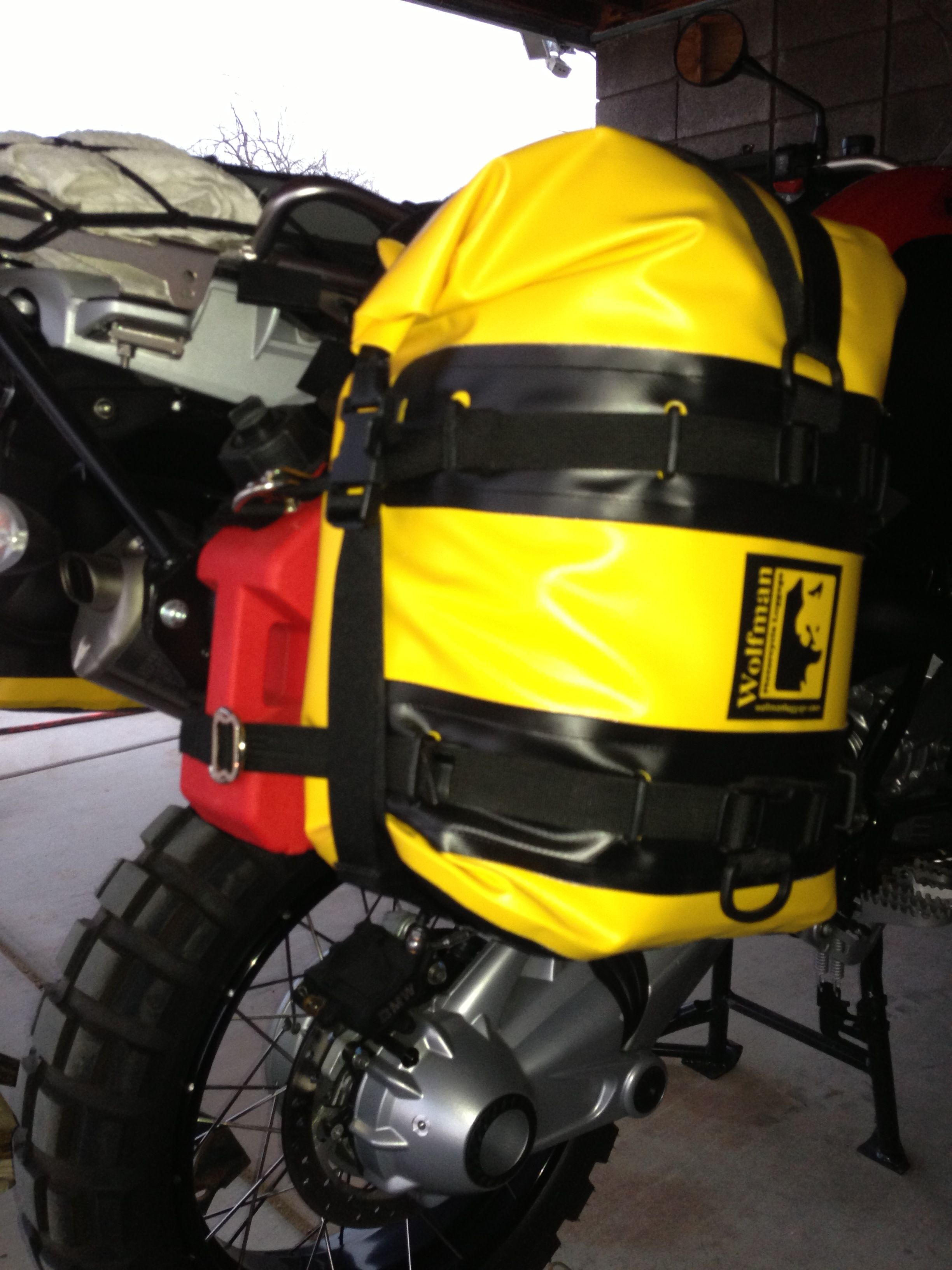 Bmw r1200gsa outfitted by halo off road with wolfman motorcycle luggage touratech