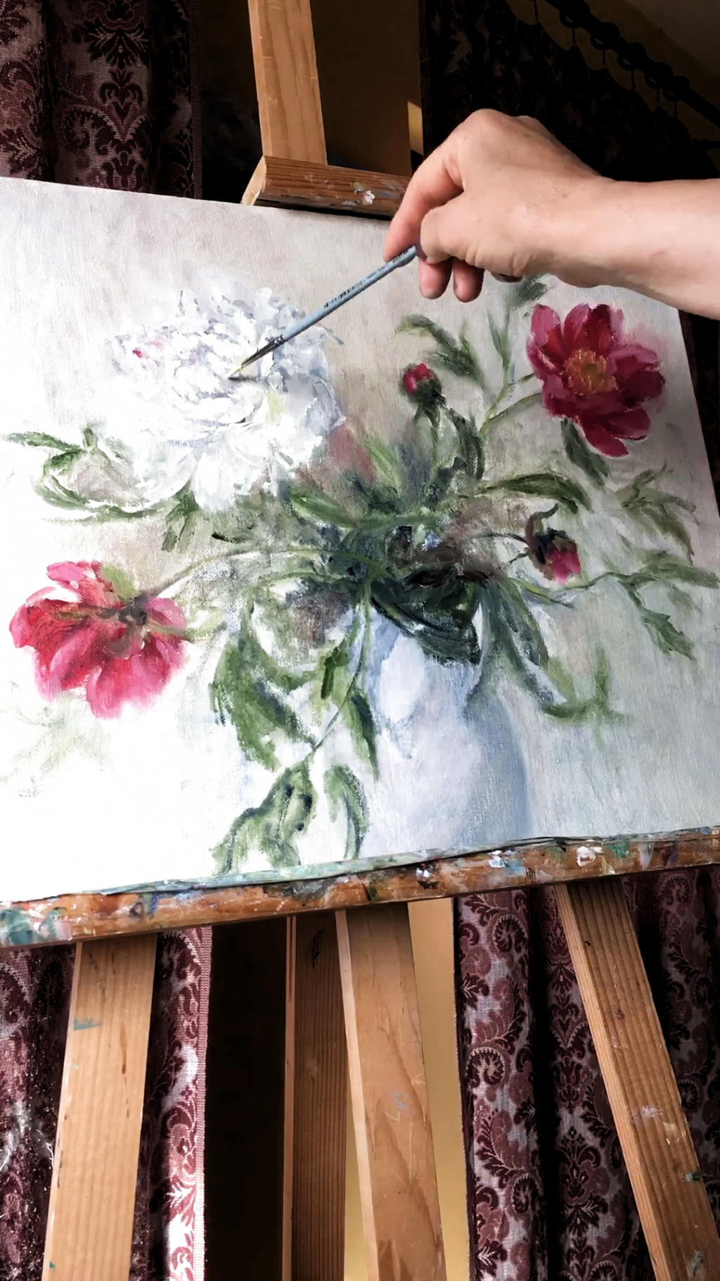 You can purchase this work on Etsy, just follow the link down below! ⤵️  #oilpainting #homedecor #painting #peony #peonies #videos #картина#живопись