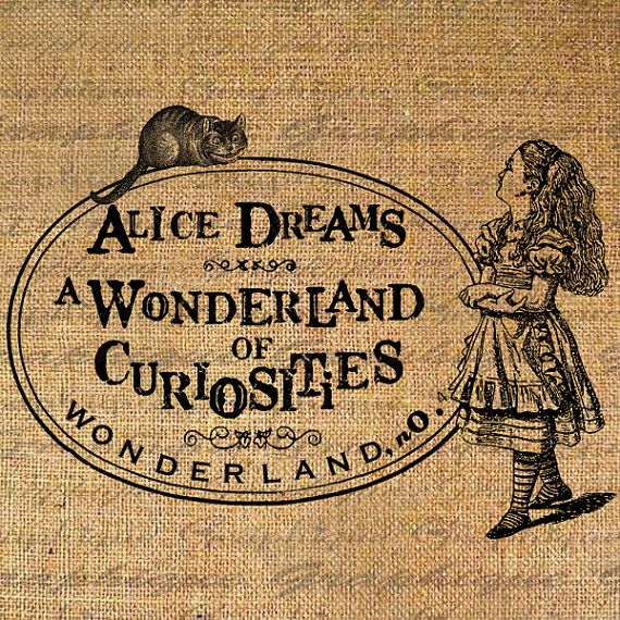 arpillera alicia Alice In Wonderland of Curiousities Dreams Digital Image Download Burlap Collage Sheet Transfer To Pillows Totes Tea Towels No. 2273