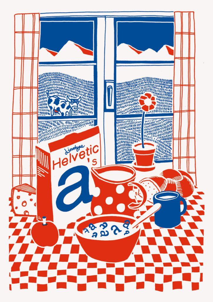 Helvetica Illustrated Riso Print – Silvan Zurbriggen - slanted