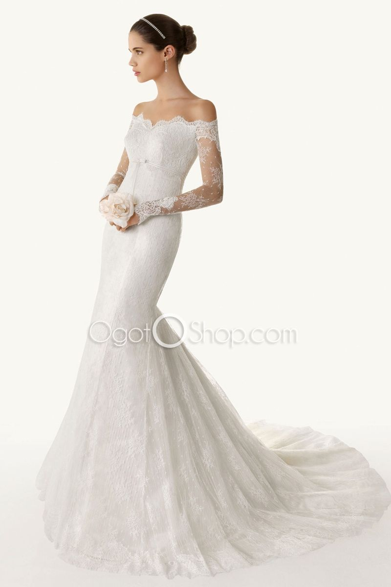 Fascinatingoffshoulderlongsleevesmermaidweddingdresswith