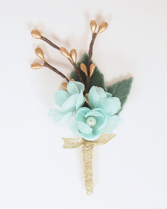 Handmade silk flower wedding boutonniere mint green pale aqua handmade silk flower wedding boutonniere mint green pale aqua gold keepsake for mightylinksfo Images