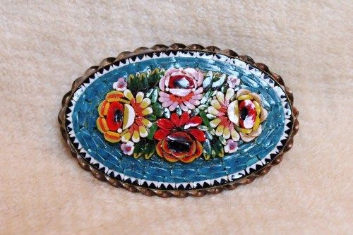 Antique Rose Mosaic Italian Millefiori Glass Flower Brooch Pin ...
