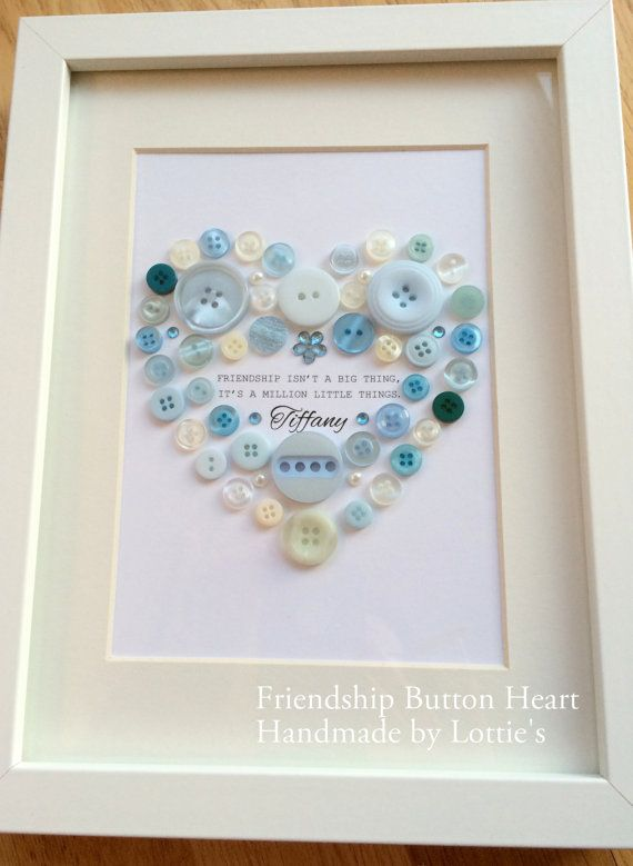 A Beautiful Handmade Framed Picture Made Out Of Buttons To