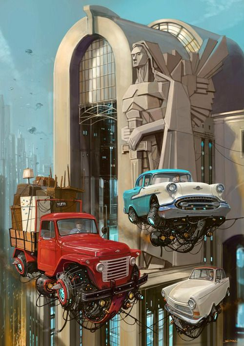 Alejandro Burdisio Retro Futuristic Retro Car Flying Car Sci
