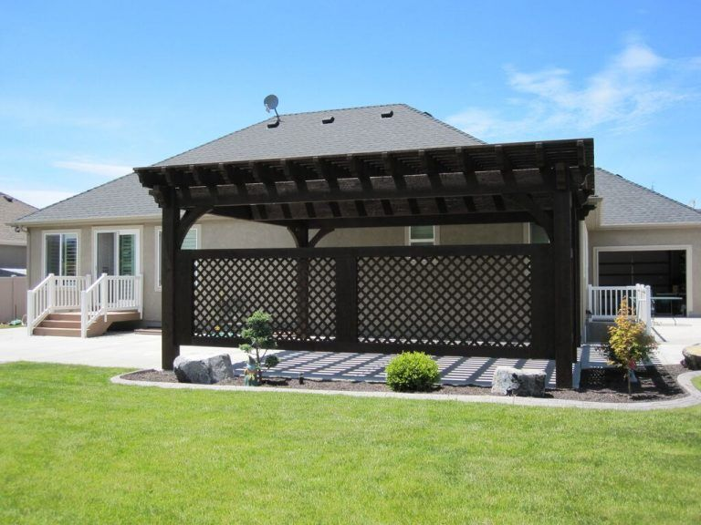 Covered Patio 5 Post 20' x 20' DIY Pergola Kit w/ Lattice