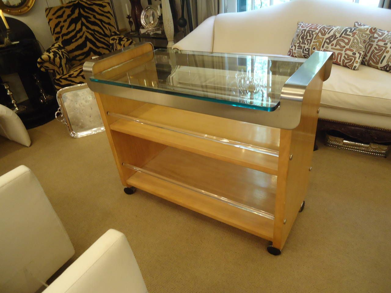 Bleached Walnut Steel and Lucite Bar Cart | From a unique collection of antique and modern bar carts at https://www.1stdibs.com/furniture/tables/bar-carts/