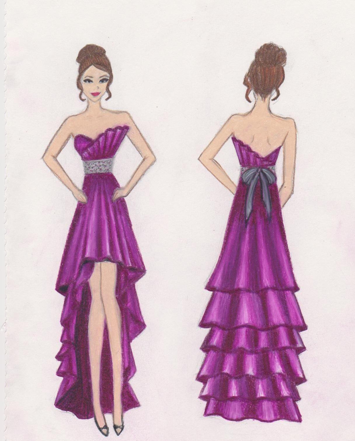 Purple Dress Fashion Sketch Dress Sketches Dress Design Drawing Fashion Sketches Dresses