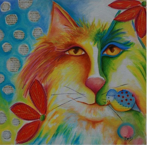 Fevrier Chat original Cat Art mixed media painting acrylic abstract by DebHarvey,