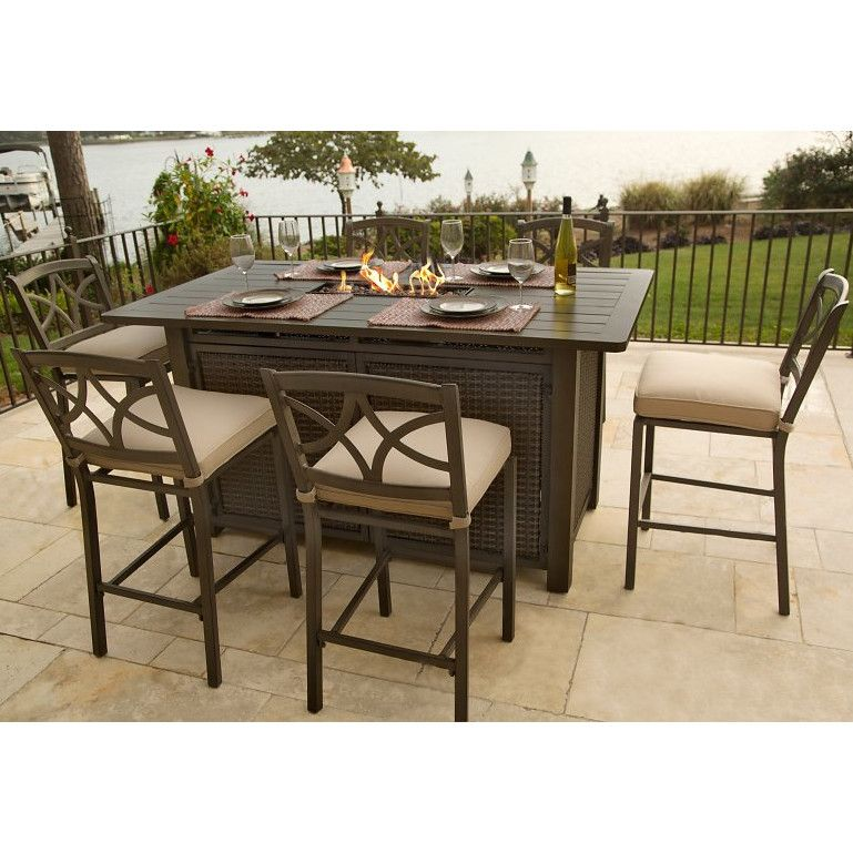 Agio Davenport 5 Piece Bar Height Fire Pit Set Fire Pit Table