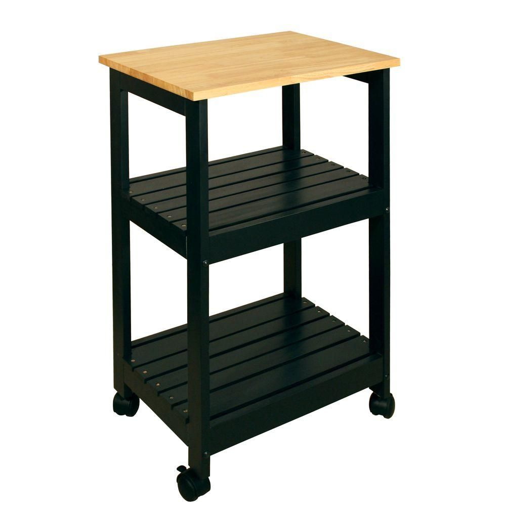 Black kitchen cart with shelf natural wood kitchen carts