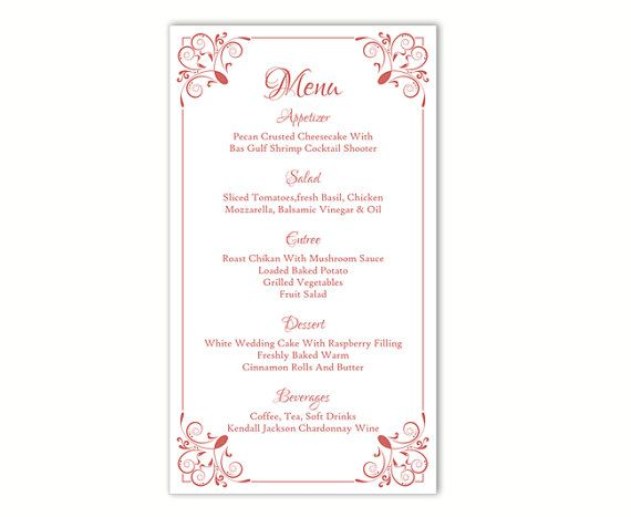 Wedding Menu Template DIY Menu Card Template Editable Text Word - free cafe menu templates for word