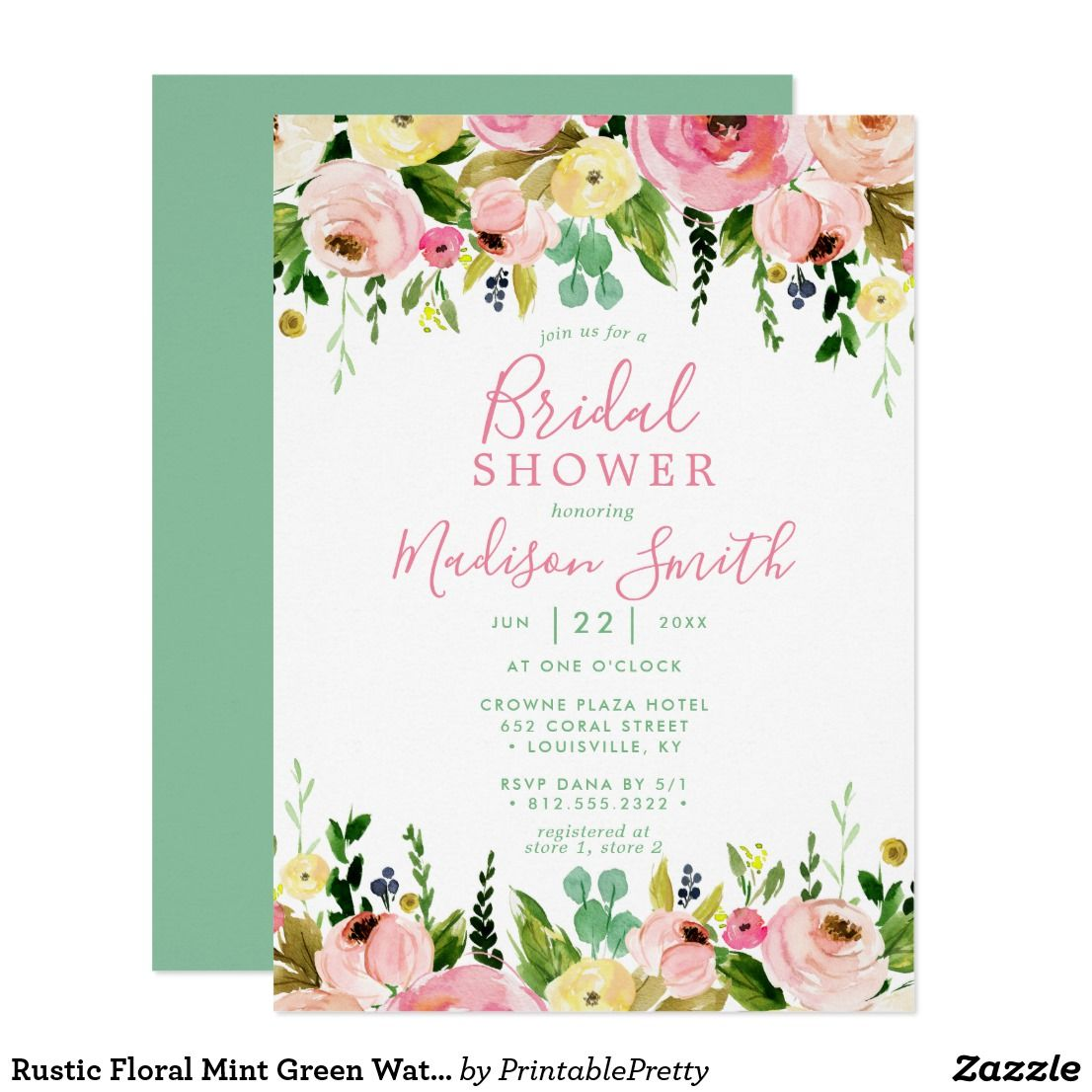 Rustic Floral Mint Green Watercolor Bridal Shower Invitation