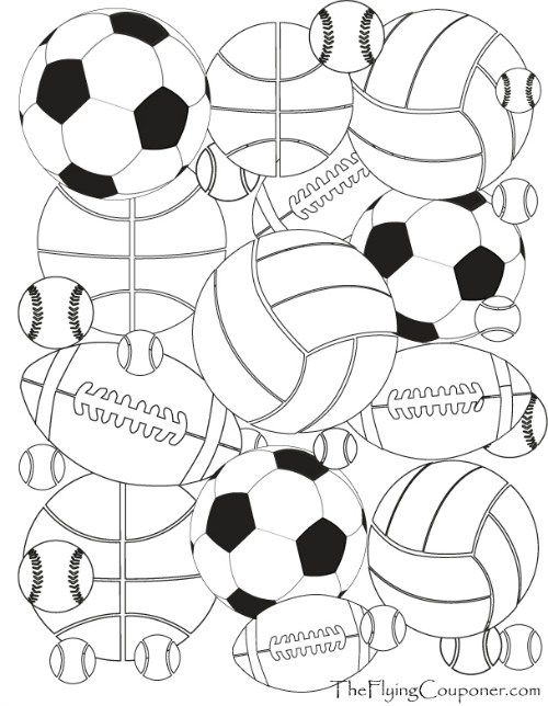 free printables colouring pages for adults and kids sport balls baseball basketbal