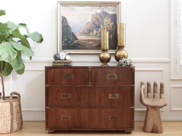 Brand Henredon Mid Century Modern Campaign Style Vintage Dresser Chest No340 Vintage Dressers Henredon Furniture Campaign Dresser