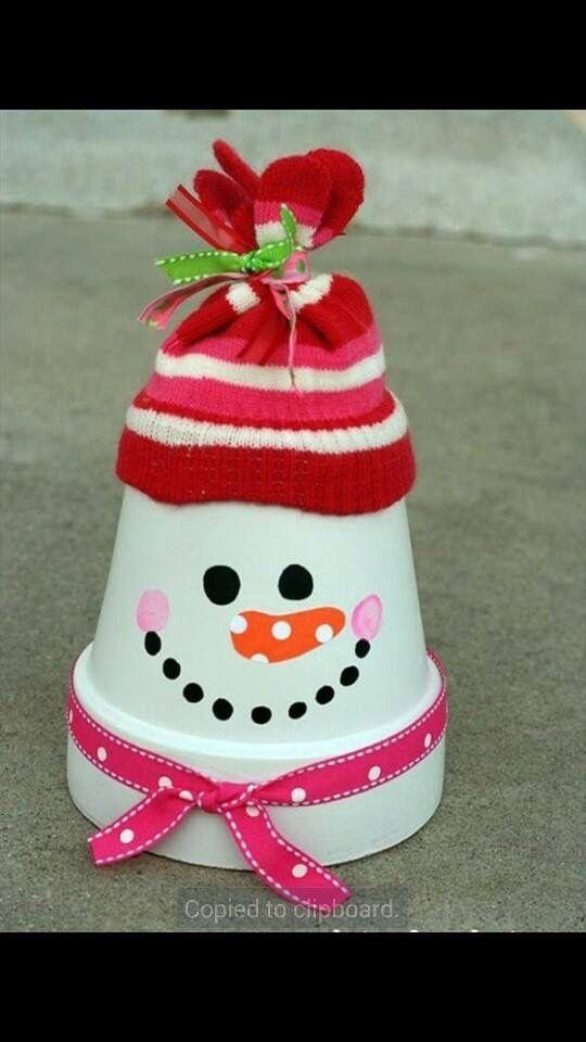 Sneeuwman bloempotje