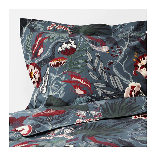 Filodendron Duvet Cover And Pillowcase S Dark Blue Floral
