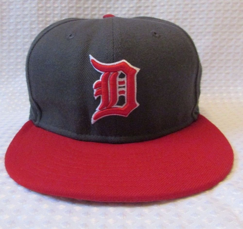 Mens Detroit Tigers MLB Baseball New Era 59FIFTY Fitted Hat Two Tone Gray Red