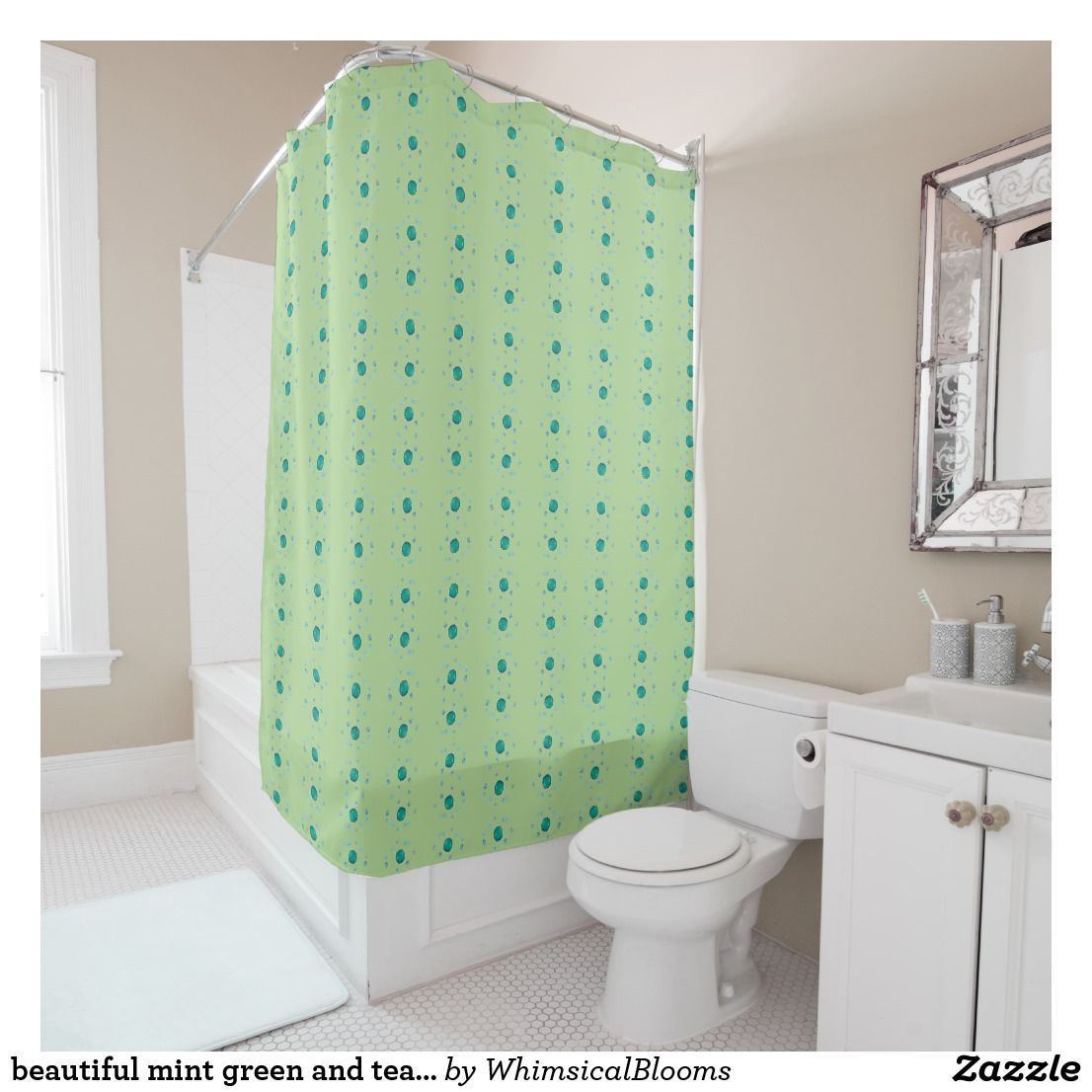 Beautiful mint green and teal pattern shower curtain in bath