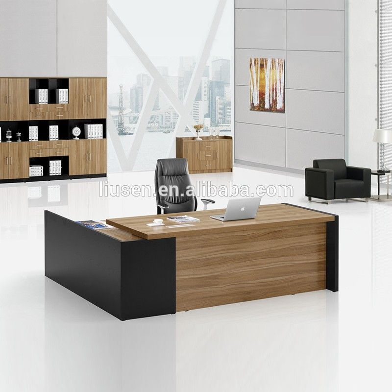 Luxury boss design office furniture wooden modern l type