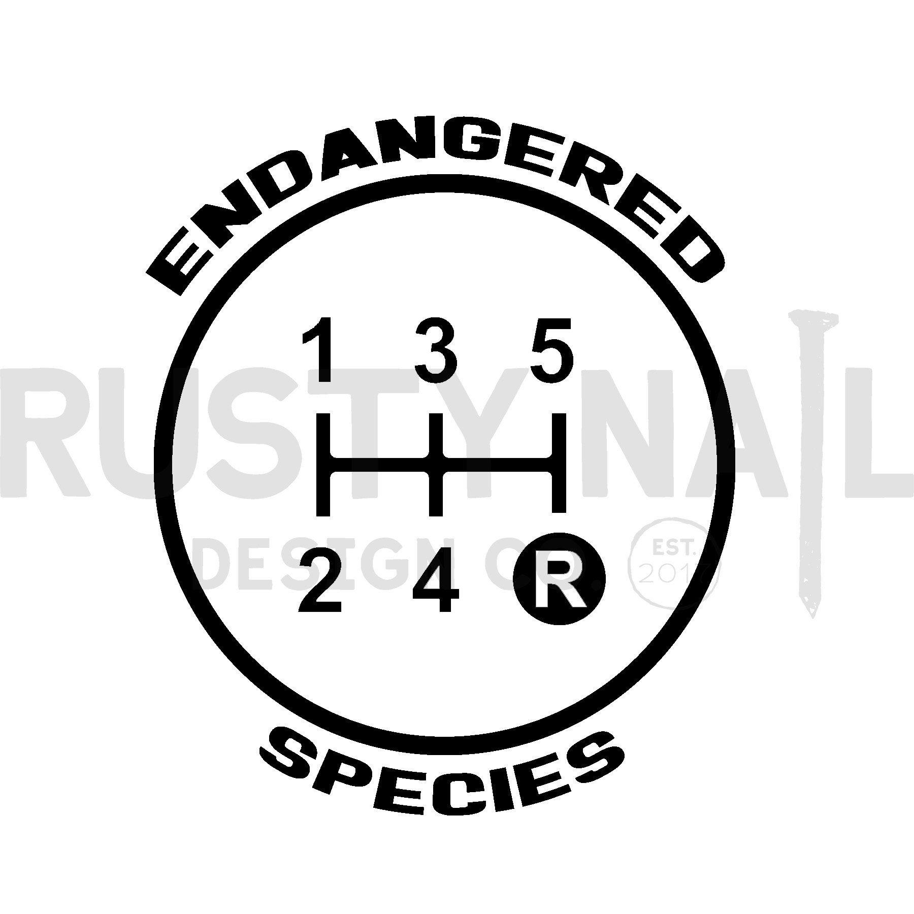 Detroit car Drive Manual Gear Round Stick Shift Endangered Species Sticker
