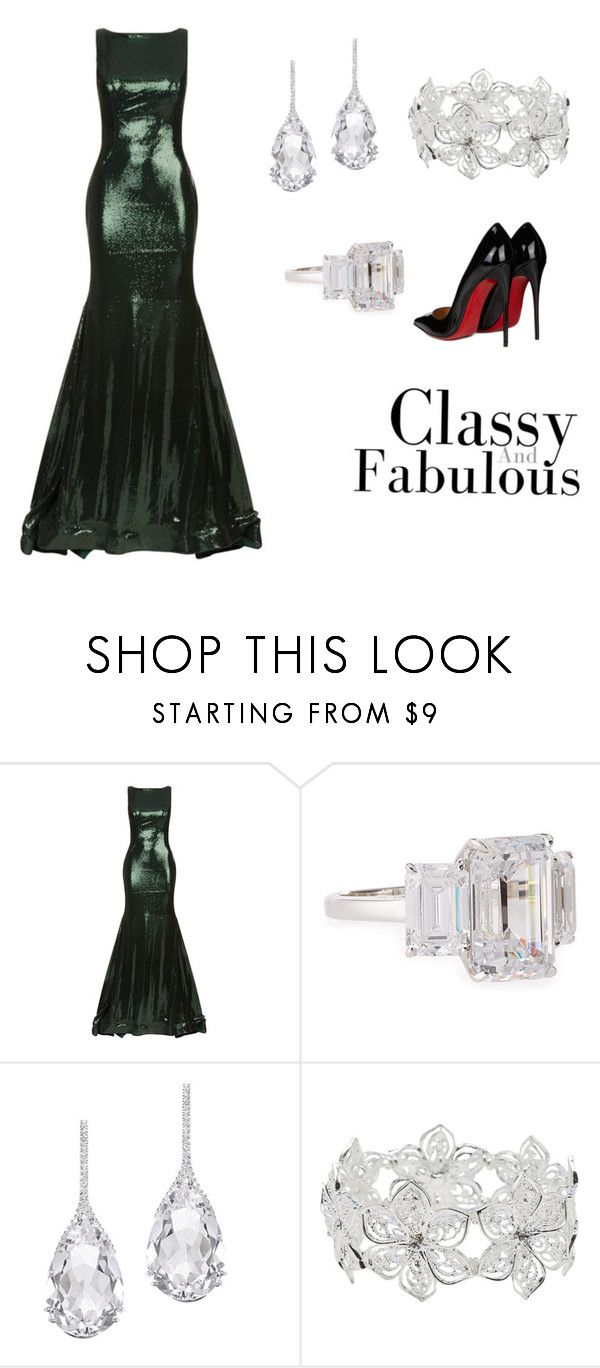 """Black Chic"" by jarias-melendez on Polyvore featuring moda, Jovani, Fantasia by DeSerio, Plukka, M&Co, Christian Louboutin, ring, diamonds y medianoche"