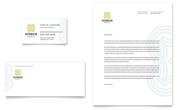 Interior Design Business Card And Letterhead Template Design By