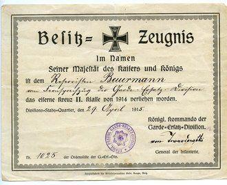 1.Weltkrieg Dokumentengruppe eines Angehörigen der preussischen ...