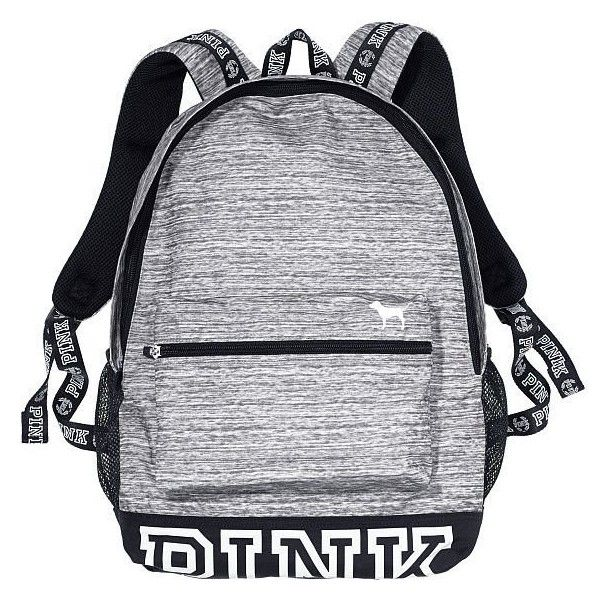 d36a68ae42e2 Victorias Secret Campus Backpack Marl Grey  White Logo ( 115) ❤ liked on  Polyvore featuring bags and backpacks
