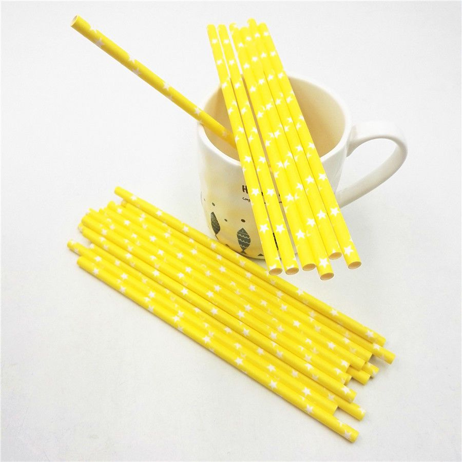 count yellow paper straws with stars craft party supplies