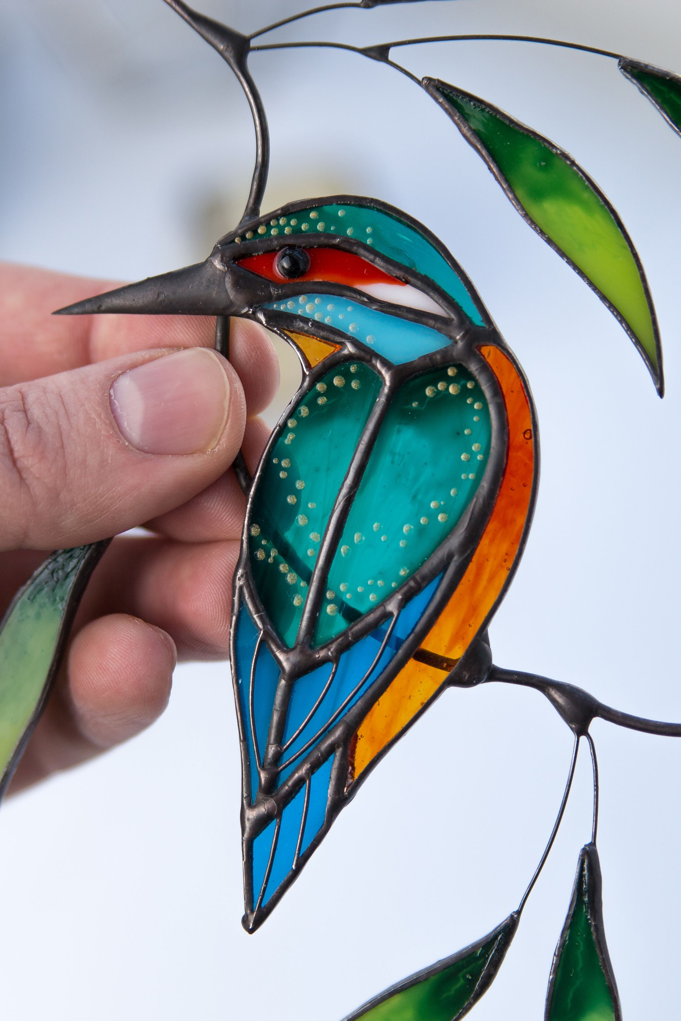 Kingfisher Stained Glass Bird Suncatcher Christmas Gifts Custom Stained Glass Window Hangings In 2020 Stained Glass Window Hanging Stained Glass Decor Stained Glass Birds